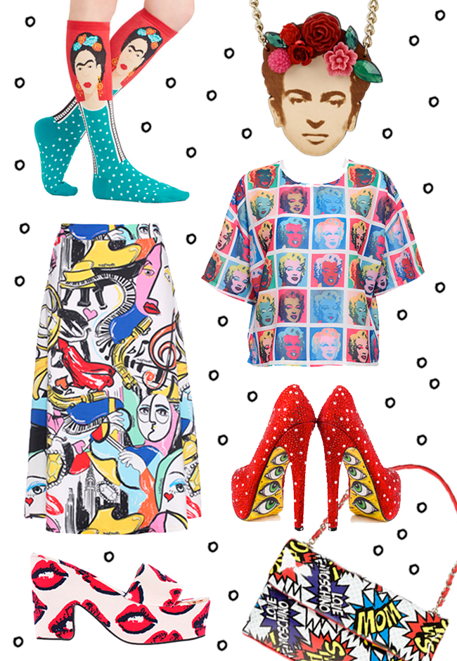 Pop Art Fashion, Frida Kahlo Socks, Tatty Devine Frida