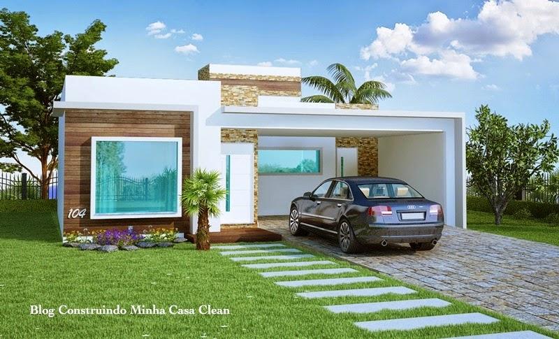 Construindo minha casa clean fachadas de casas t rreas for Modelo de casa pequena para construir