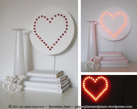 luminária de coração faça você mesmo
