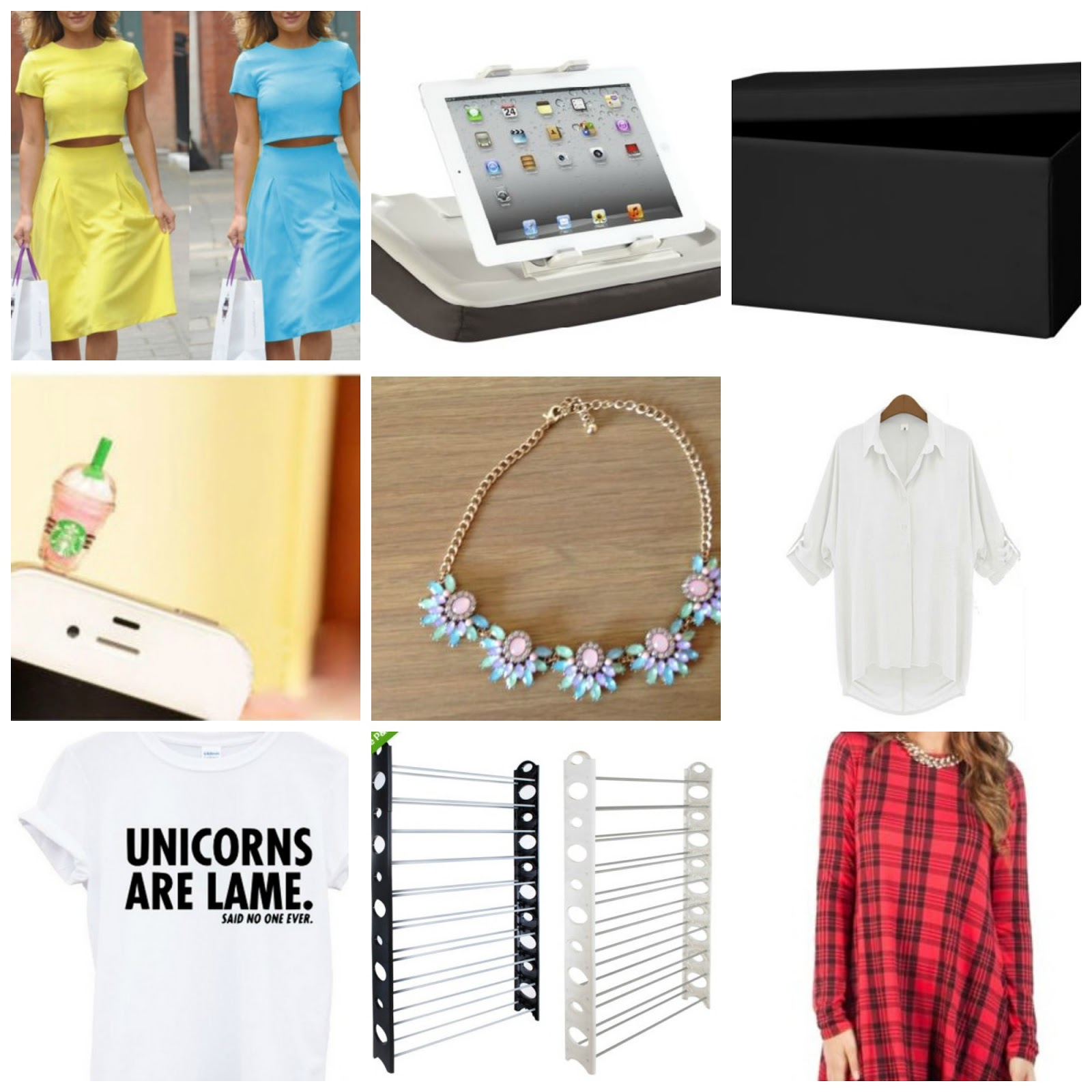 co-ord skirt an top set, starbucks phone jax, statement necklace, tartan dress, white shirt, unicorn tshirt, shoe rack, ottoman and ipad stand and table