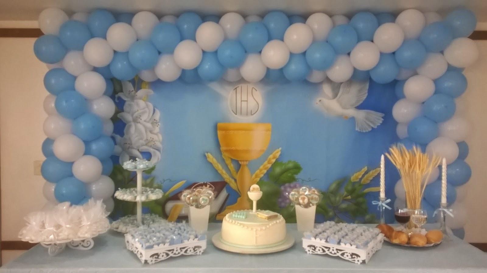 Ana Decoraç u00e3o de Bolas Festa Primeira Comunh u00e3o Moldura com painel pintado em lona  -> Decoração De Primeira Comunhão Simples Com Flores