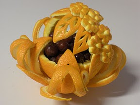 orange fruit carving