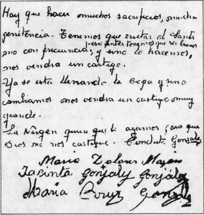Primer mensaje del 18 de octubre de 1961