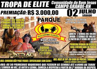 Dia 02 de Julho tem Tropa de Elite no Parque Guilherme Gurgel na Comunidade Bom Jesus