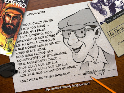 caricatura Chico Xavier