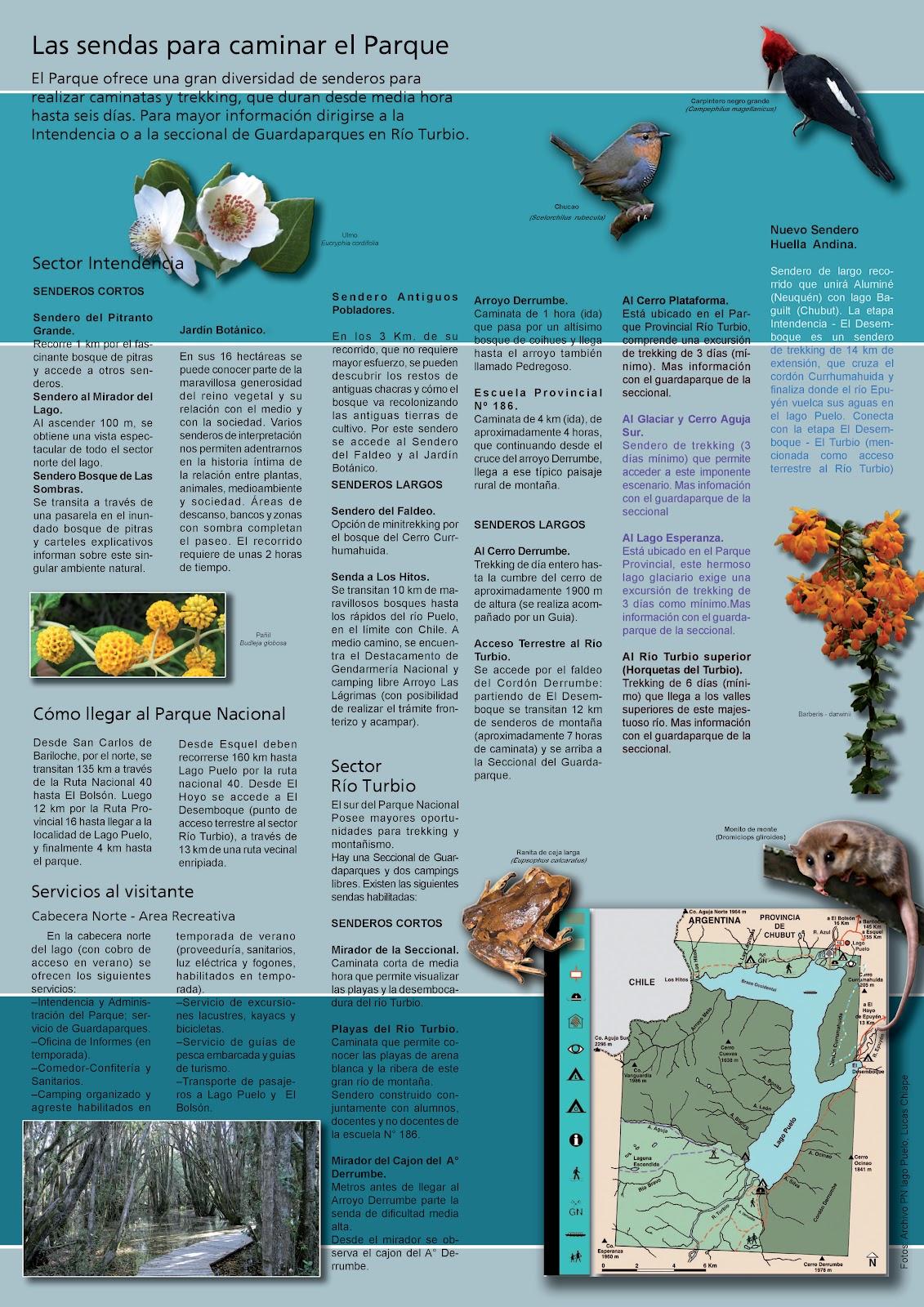 Folletería del Parque Nacional Lago Puelo (click para ampliar y descargar)