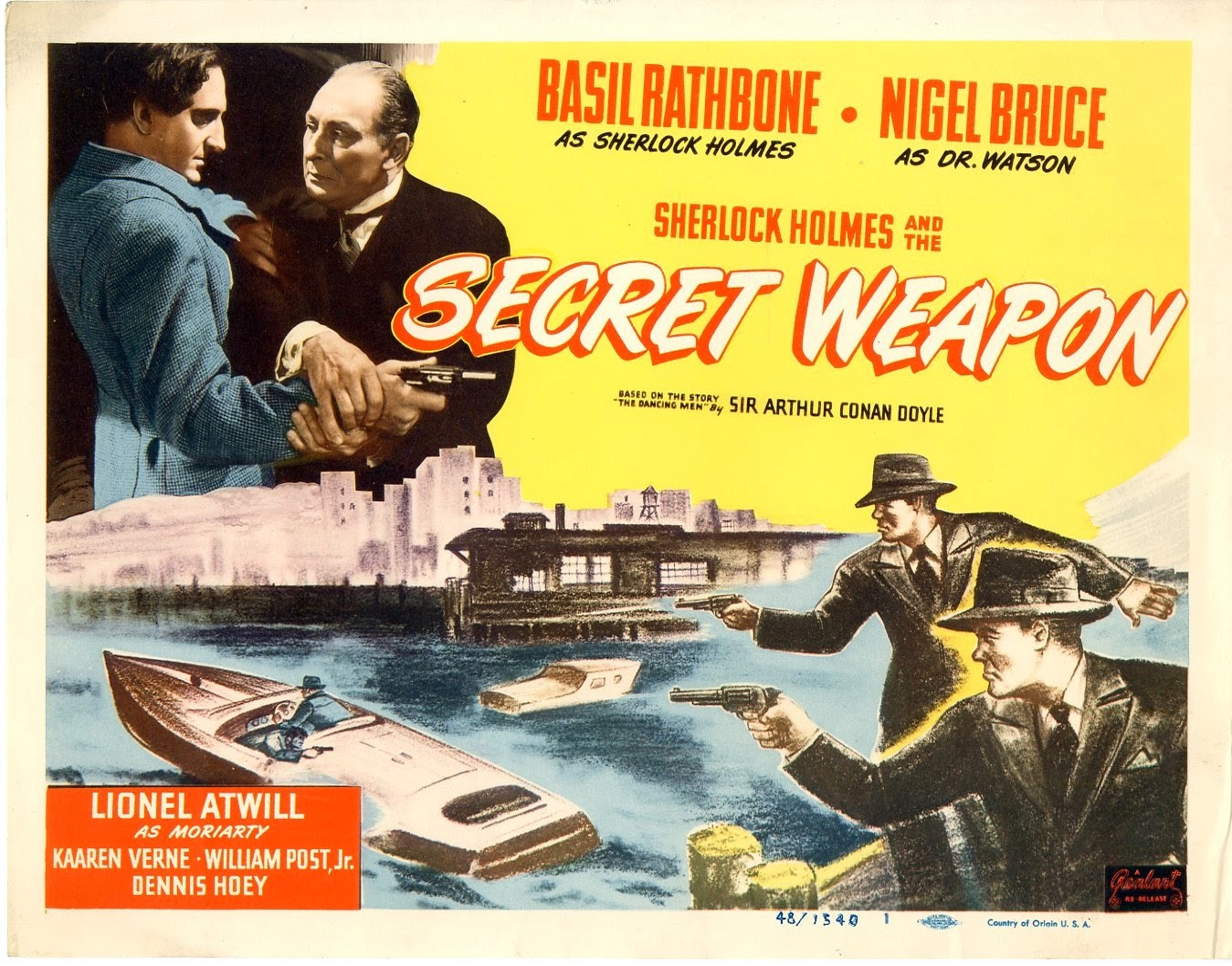 Sherlock Holmes and the Secret Weapon Vintage Movie Poster, Starring Basil Rathbone, Nigel Bruce, and Lionel Atwill