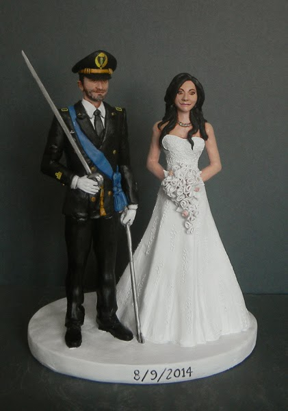 cake topper milano statuine matrimonio in divisa sposa bouquet orme magiche