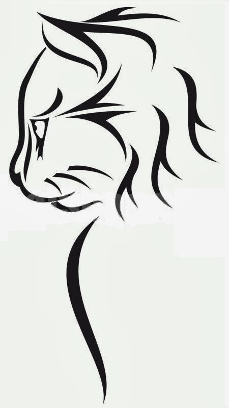 Cat head tattoo stencil