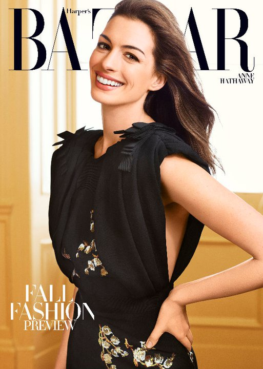 Anne Hathaway on the Cover of August Harper's Bazaar