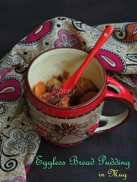 Eggless Bread pudding in mug,Eggless Bread pudding