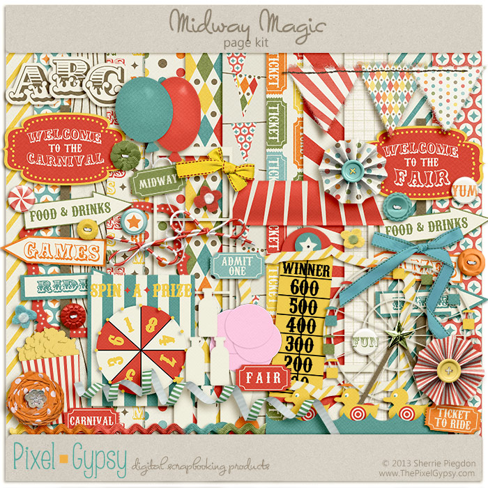 Midway Magic Carnival Fair Digital Scrapbooking Page Kit