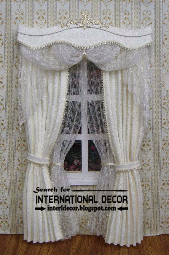 royal white curtains with luxury valance design ideas