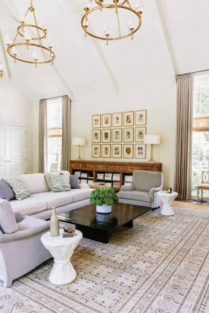 traditional white and gray living room