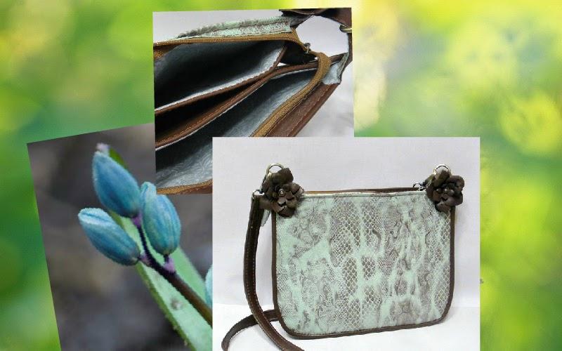 Женская сумка из кожи на лето Голубая змея