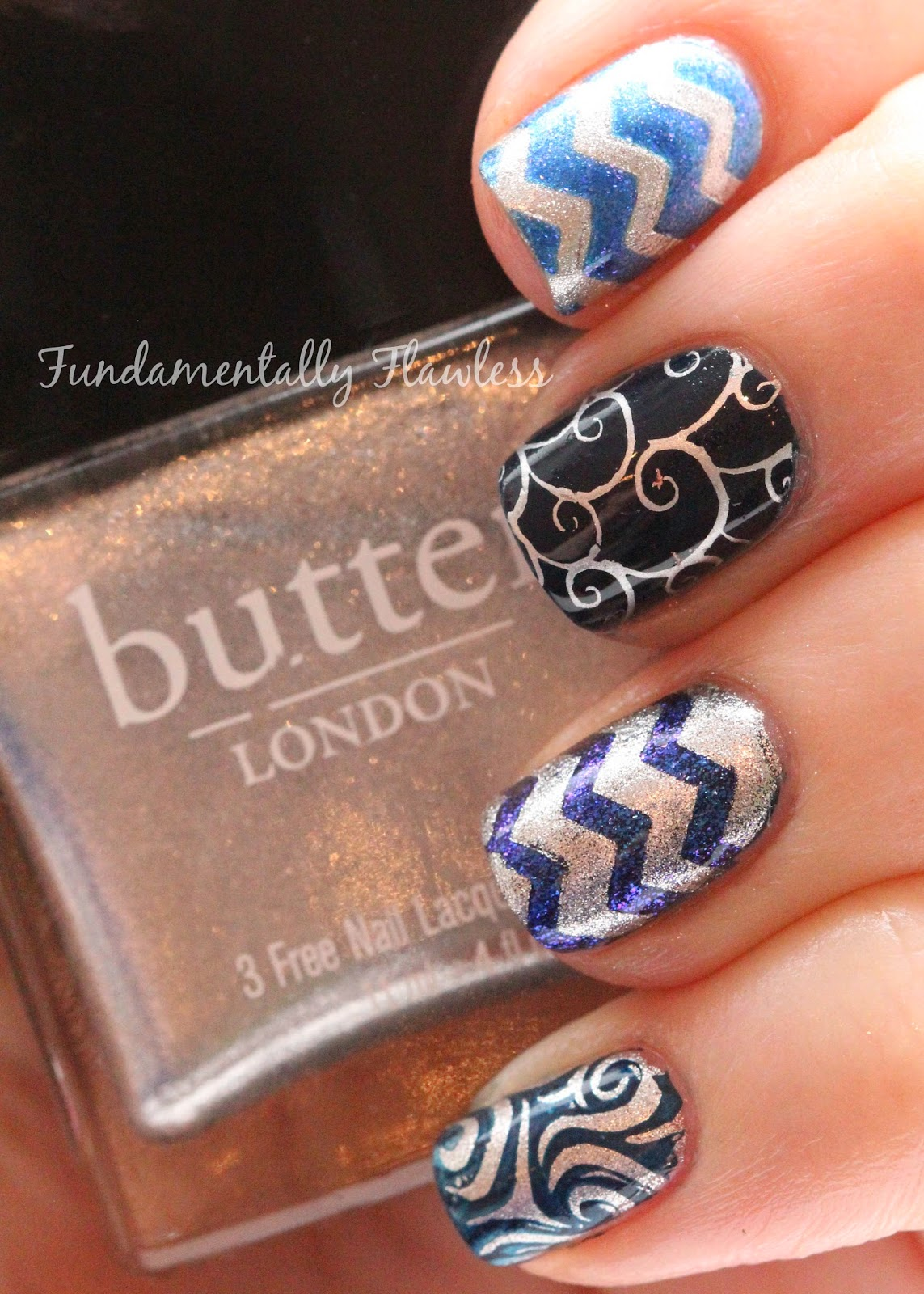 Navy Blue and Silver Nail Art with Butter London Diamond Geezer