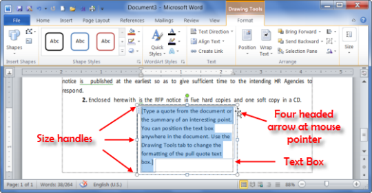 Insertion of Text Box in a MS Word document