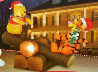 Disney Christmas 5' Winnie the Pooh & Tigger Log Teeter Totter Animated Airblown Inflatable by Gemmy