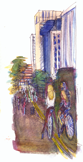 "Shiho Nakaza ""Los Angeles"" ciclavia bicycle sketch sketching watercolor pen sketches"
