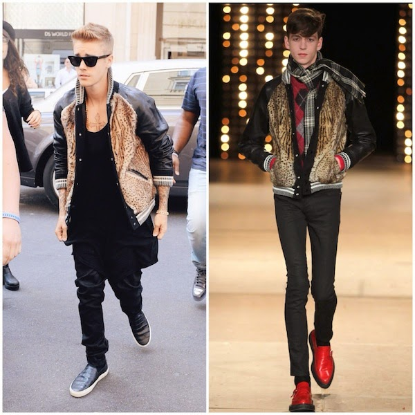 Justin Bieber wears Saint Laurent by Hedi Slimane Fall Winter 2014 animal print fur front varsity bomber jacket in Paris September 2014