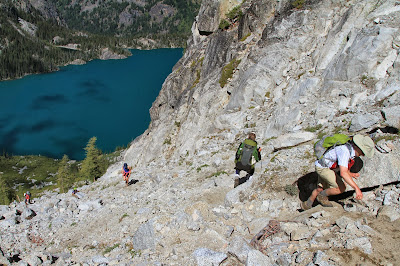 Climbing Aasgard Pass with Colchuck Lake Below