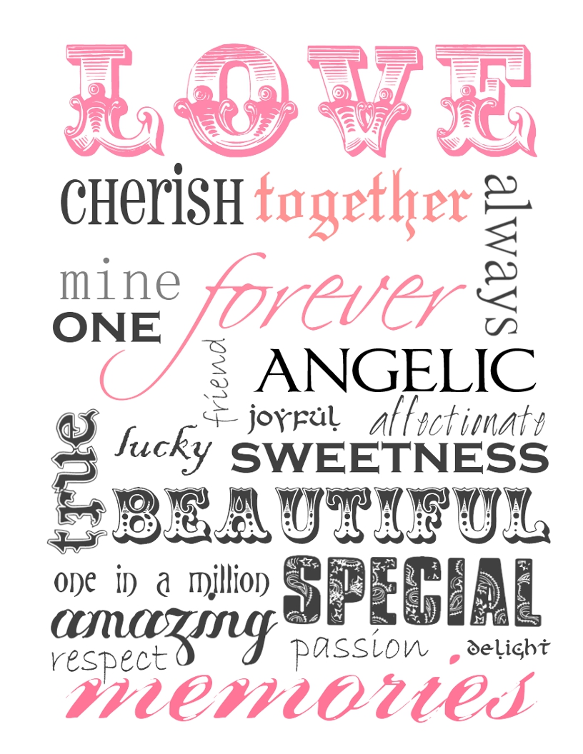 Free Printable Love Word Art