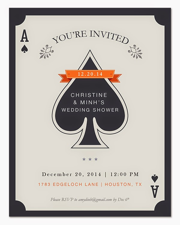 vegas invitation, ace of spades invitation, couples wedding shower, wedding shower invitation, mai paper shop