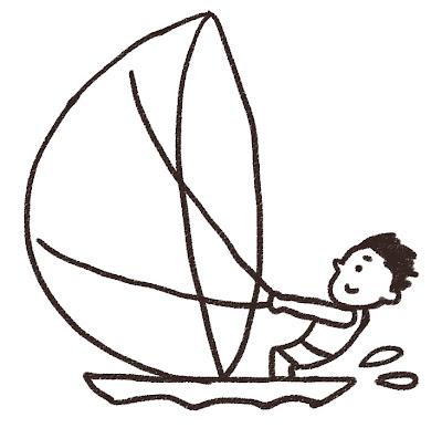 ヨットに乗っている人のイラスト モノクロ線画