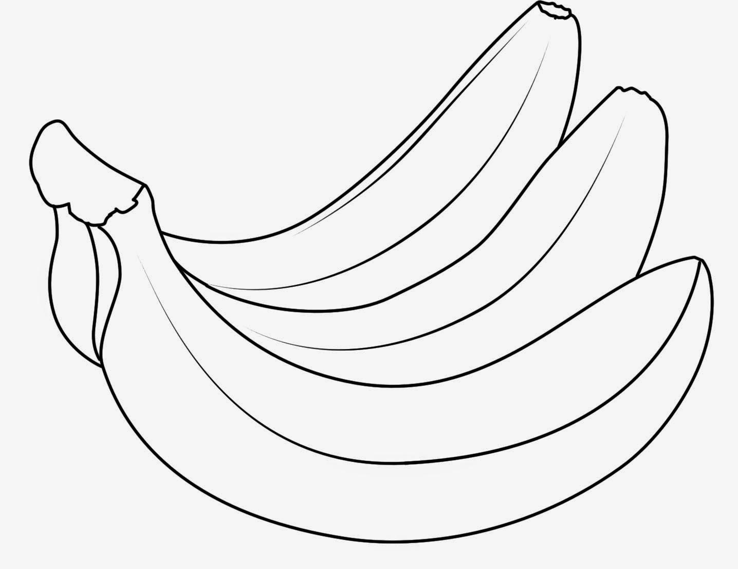 gratis mewarnai gambar buah pisang untuk anak