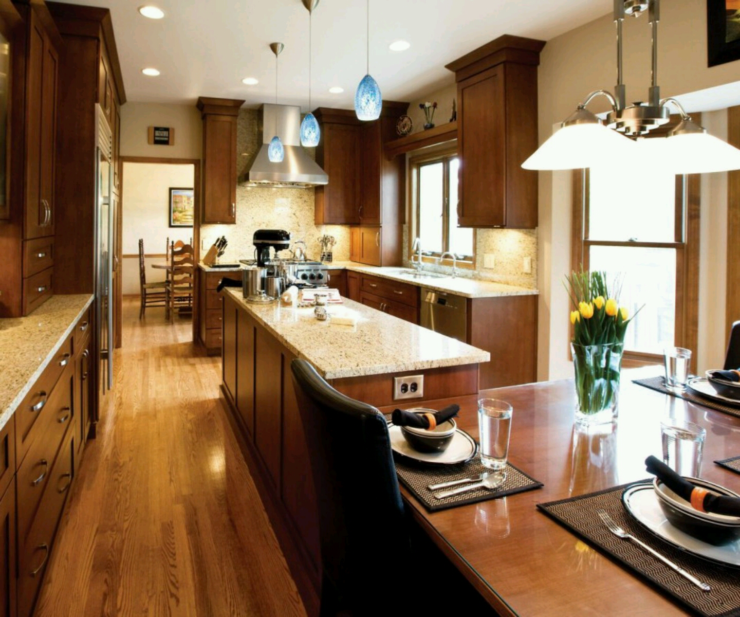 New home designs latest kitchen cabinets designs modern for Latest kitchen units designs