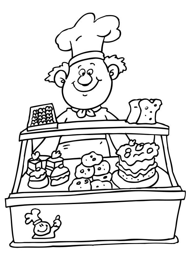 Coloring picture of baker child coloring for Baker coloring page