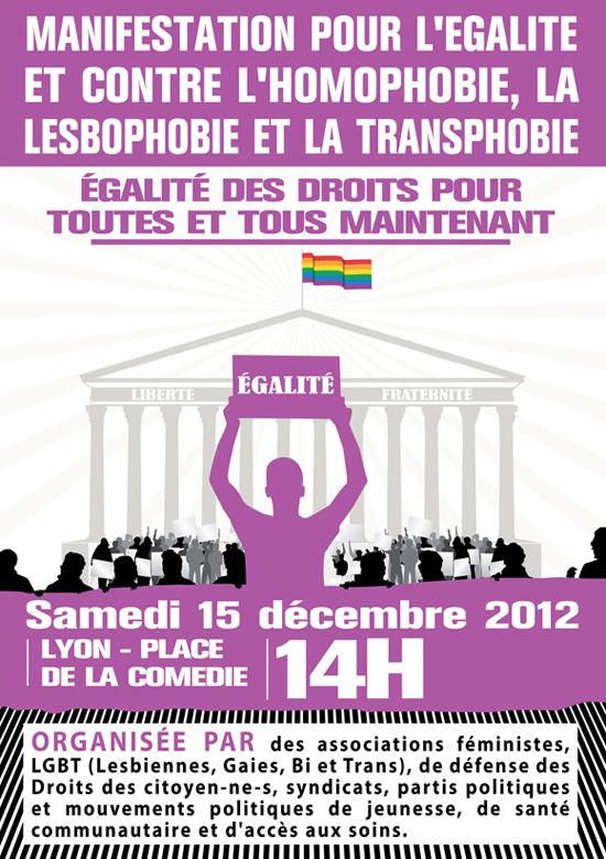 Manifestation pour l'égalité et contre l'homophobie, la lesbophobie et la transphobie Lyon