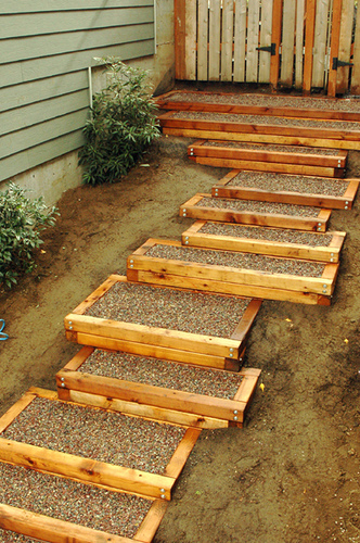 Exterior cedar stairs backyard and patios