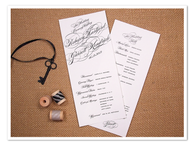 black white glamorous diagonal script calligraphy wedding program design printable diy