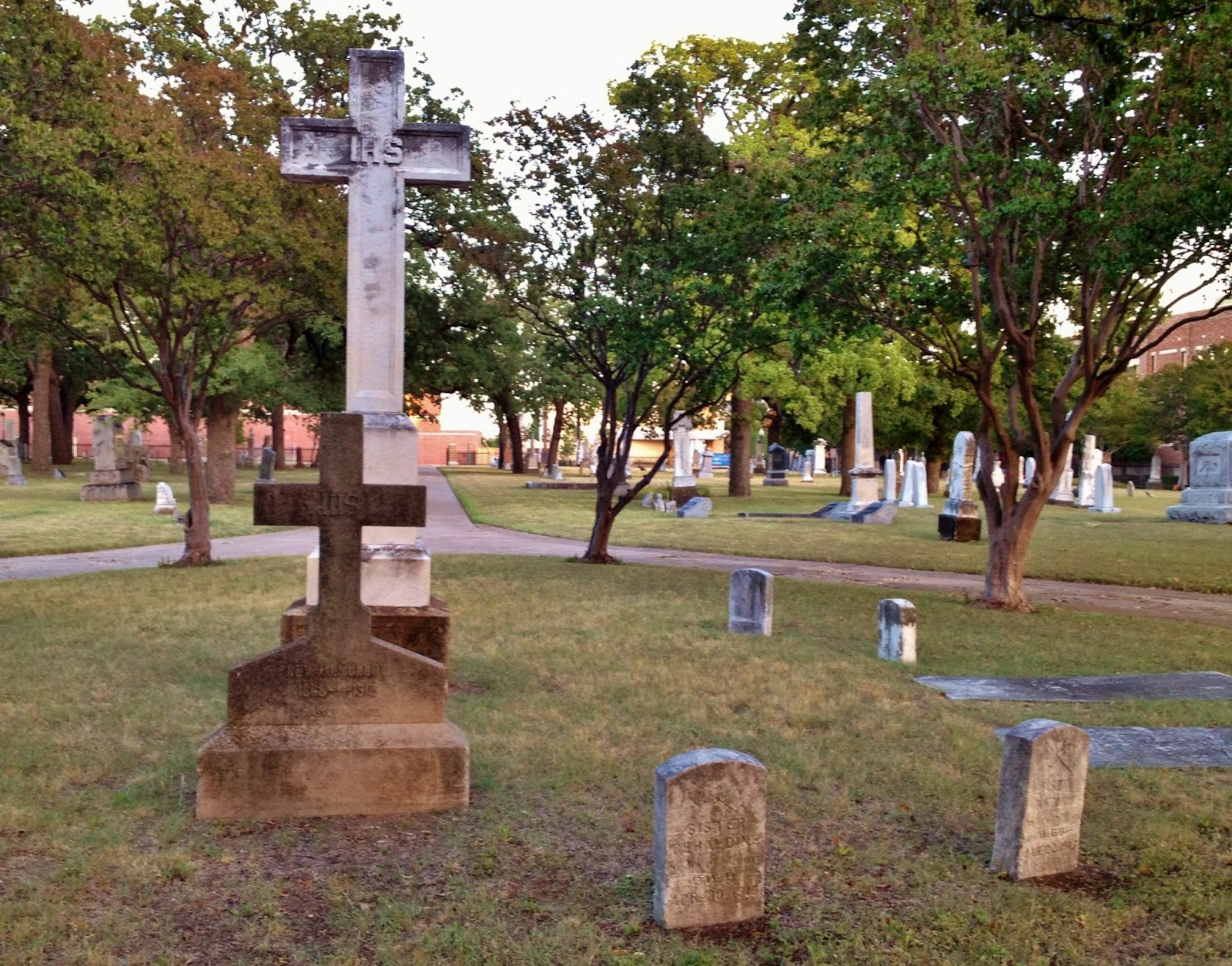 The graves pictured are part of the religious circle in calvary cemetery