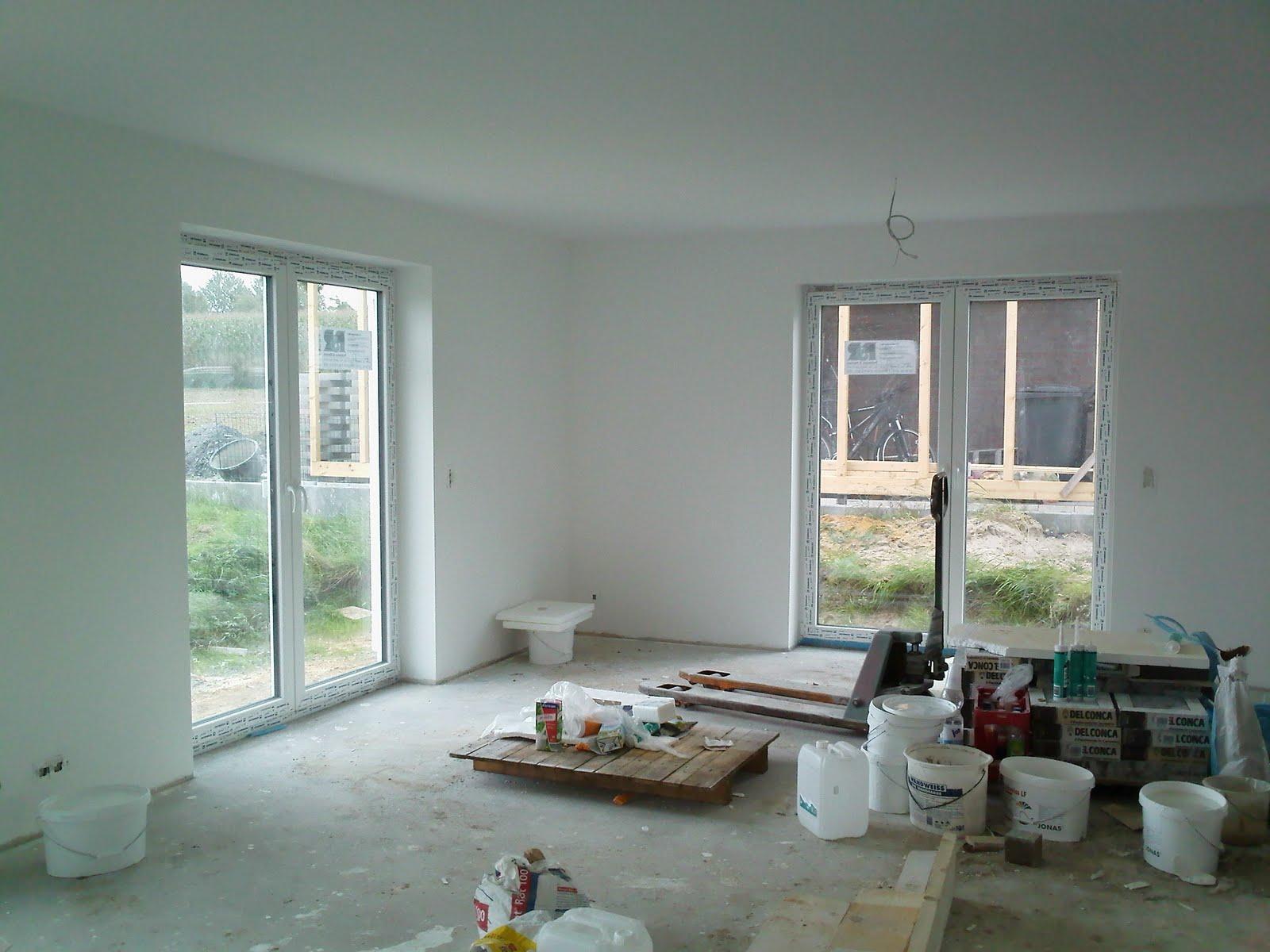 jenny und stefan bauen ein haus wohn esszimmer k che gestrichen und ohne ger st. Black Bedroom Furniture Sets. Home Design Ideas