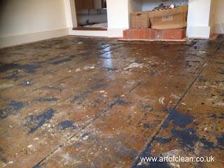 Ancient pine floor before sanding