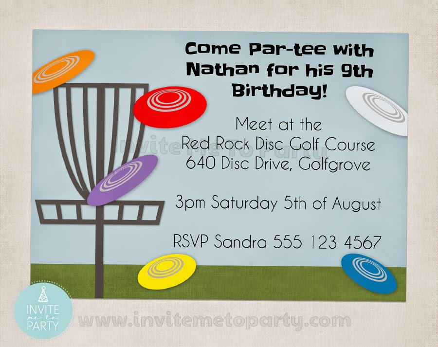 Invite Me To Party: Frisbee Golf Party / Disc Golf Party