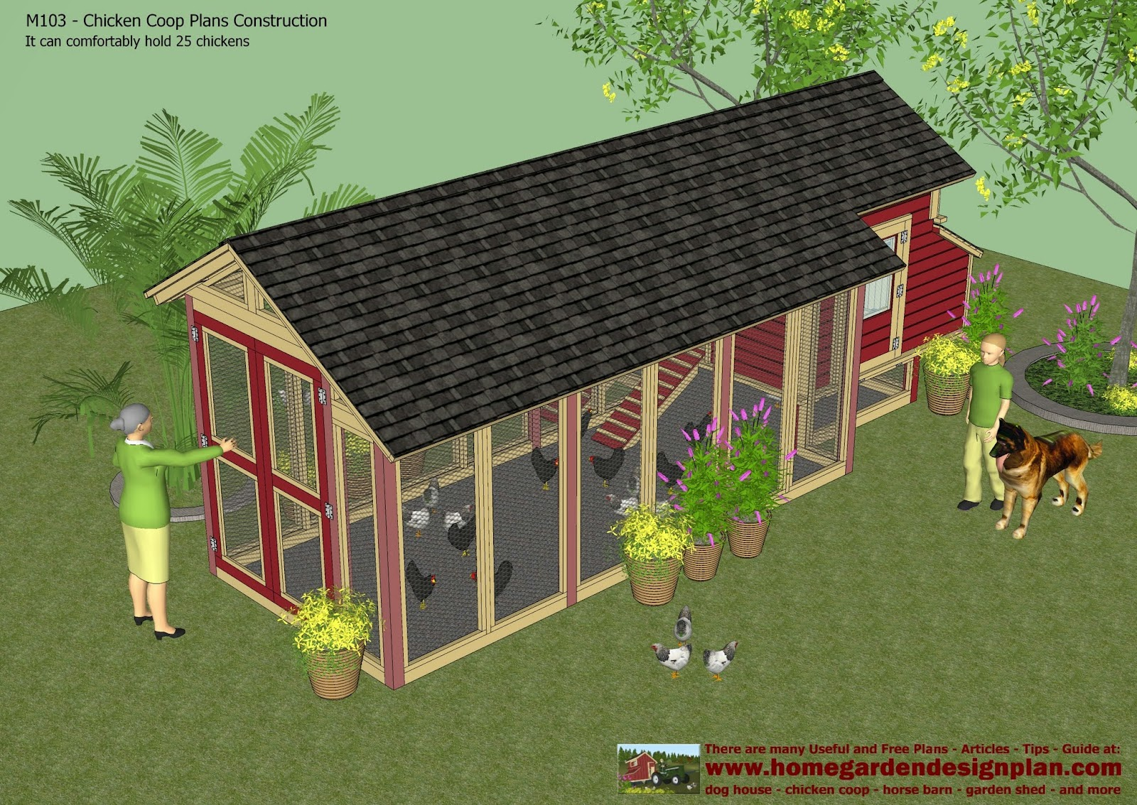 Home garden plans m103 chicken coop plans construction for Plans chicken coop