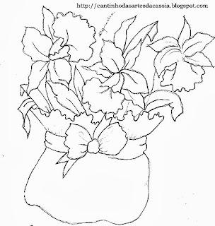 risco de cachepo com orquideas para pintar