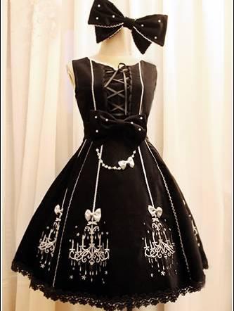 Classic Velveteen Printed Rococo Lolita Dress