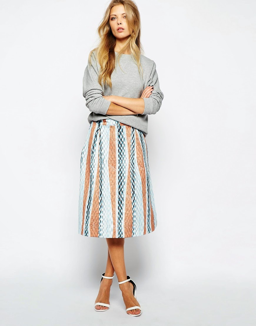 YAS stripe skirt, striped midi full skirt,