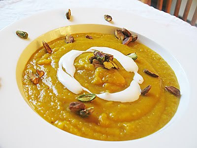 Roasted Butternut Squash & Cannellini Bean Soup with Spices and Toasted Pistachios
