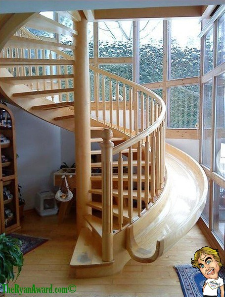 WIN! Awesome Slide connected to house stairs