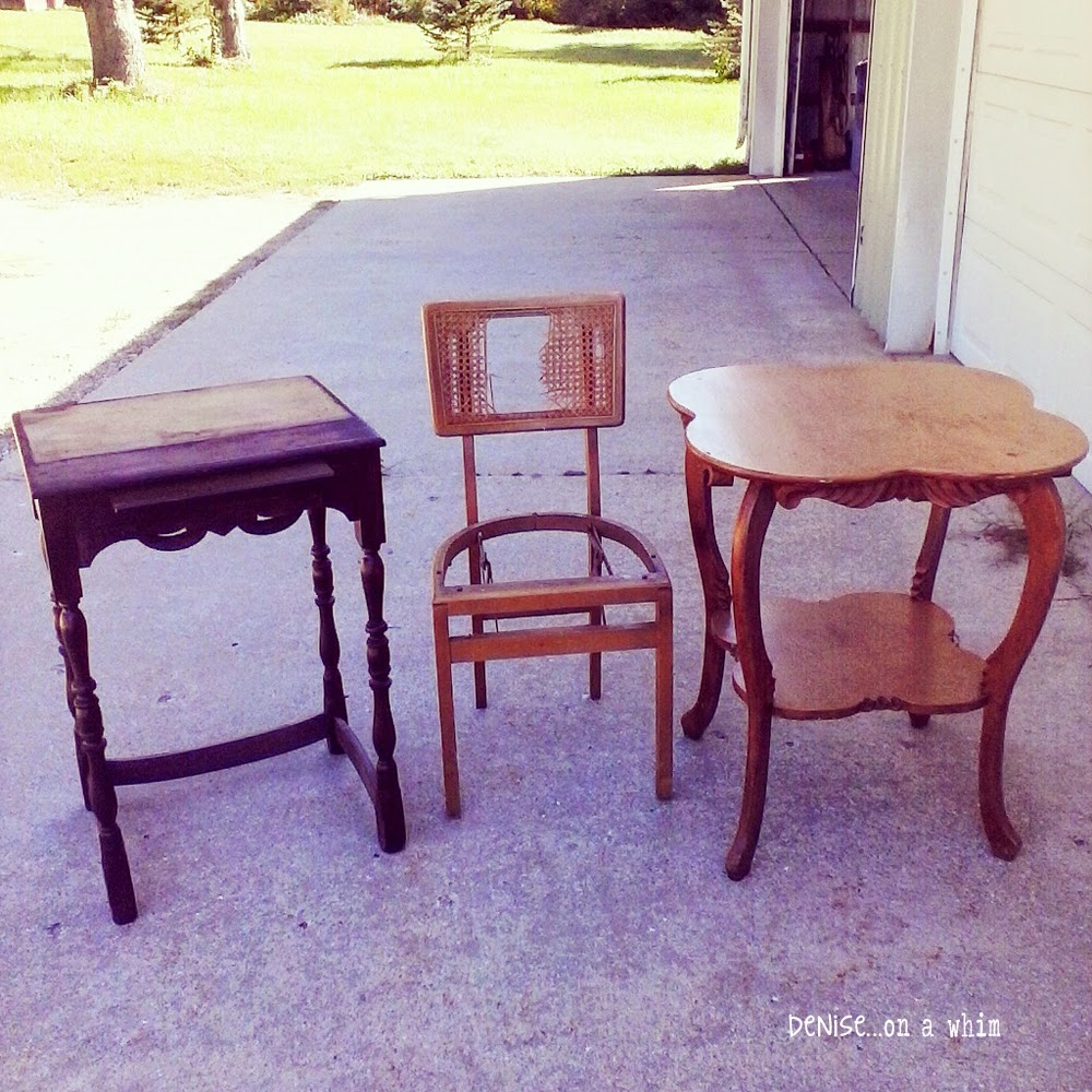 Antique Writing Table and Chair Makeover (the before) from Denise on a Whim