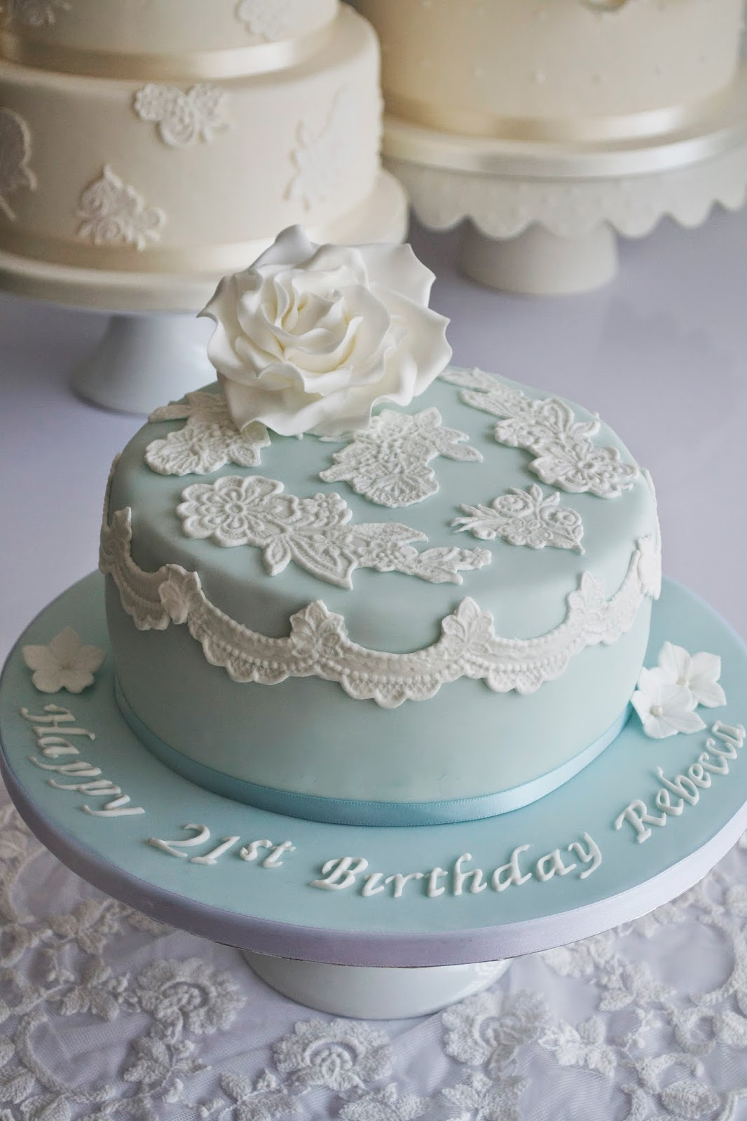 Blue Lace 21st Birthday Cake In White