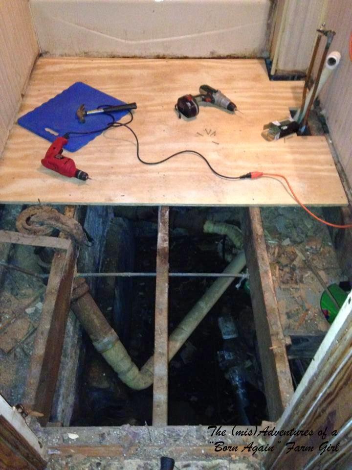 Adventures in Home DIY Replacing a Sub floor Yeah We 39 re Nuts. Replacing Subfloor In Bathroom