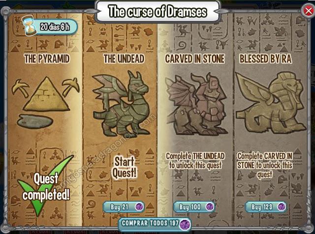 imagen del segundo segmento o segundo mini juegos de la isla egipcia de dragon city