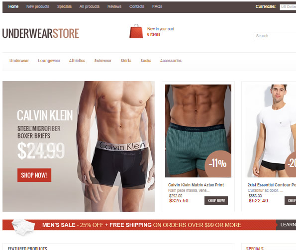 Ecommerce Site Name : Underwear Store