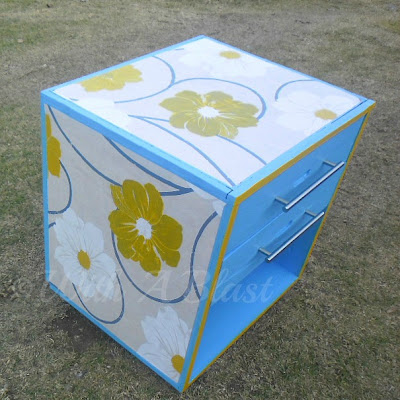 With A Blast: Painted & Wallpapered Cabinet   {paint your wallpaper to suit your color scheme!}  #diy  #furniturepainting  #wallpaperprojects